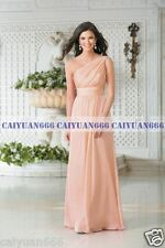 One Shoulder Chiffon Long Formal Evening Party Bridesmaid Dress Stock Size 6++18