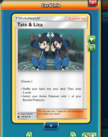 DIGITAL ptcgo in Game Card 2x Tate /& Liza for Pokemon TCG Online