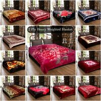 Double Sided 2 PLY Heavy Weighted Blanket Bed Throw Thick Soft & Warm King Size