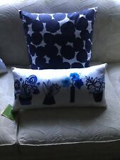 NWT Kate Spade White With Blue Flowers Oblong Silk Decorative Pillow Free Ship