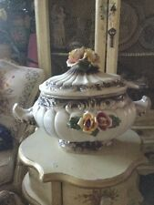 Rare Vintage Capodimonte Large Porcelain Covered Soup Tureen Serving Bowl ROSES