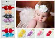 Newborn Baby Girl Shabby Flower w/ Rhinestone Headband Wedding 0-18mos assorted