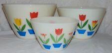 VINTAGE FIRE-KING TULIP MIXING NESTING BOWLS SET OF 3