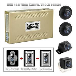 360°1080P HD Car DVR Bird View Panoramic System Seamless 4 Camera W/Shock Sensor