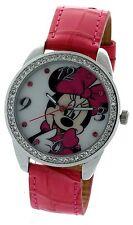Disney Collectible Minnie Mouse Watch Genuine Pink Strap stone bezel