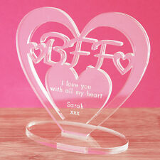 Personalised Heart Message Ornament Keepsake BFF Best Friend Forever Gift