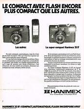 PUBLICITE ADVERTISING 104  1978  HANIMEX  appareil photo SUPER COMPACT 35 IF