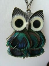 Accessorise Feathered Owl Pendant Necklace Long Chain Peacock Feathers Enamel