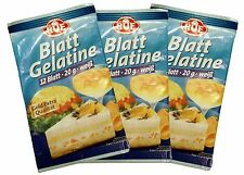 3Pack RUF Gelatine Sheets, 3x12 leaves, German Leaf Gelatine,Gold Extra Quality