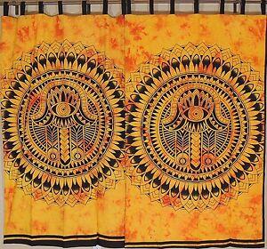"Amber Mandala Curtains - 2 Cotton Printed Indian Window Treatments Panels 78"""