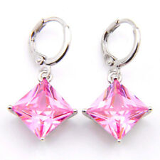 Wedding Party Gift Natural Pink Fire Topaz Silver Dangle Hook Earrings