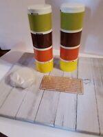 Vintage Set 8 Tupperware 1308 Stacking Spice Tower Shakers Jars Harvest Labels