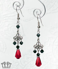 Gothic Silver BLACK RED CRYSTAL CHANDELIER EARRINGS Victorian Style Filigree E13