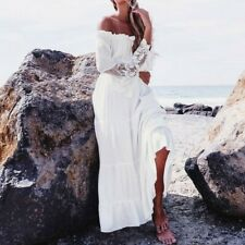 US Women Off Shoulder Dress Summer Lace Beach Boho Party Maxi Sundress Dreses