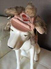BNWT Dog Hat Boots & Barkley Trapper Style XS/Small Pink Corduroy w Faux Fur
