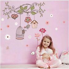 Birdcage  Flower Vines Wall Sticker Kids Room Decor  Vinyl Decal
