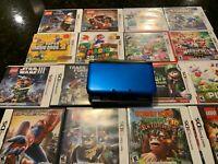 Nintendo 3DS XL Blue/Black Handheld System BUNDLE includes console,17 games,case