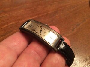 Vtg Very Long Curved Case Vulcain 17 Jewels Sterling Silver Wrist Watch