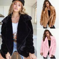 Fleece Fur Jacket Outerwear Tops Winter Warm Soft Fluffy Coat Women's Clothes