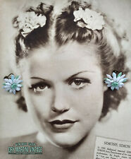 VINTAGE 1940s ART DECO GLASS FLOWER EARRINGS SIGNED GERMANY BRIDAL SUMMER GIFT