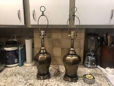 Pair Of Westwood Industries Brass/ Bronze Lamps Hollywood Regency MCM