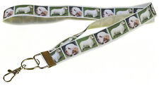 More details for clumber spaniel breed of dog lanyard key card holder perfect gift