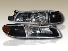 1997-2003 Pontiac Grand Prix Crystal Black Headlights + Amber Corner Assembly