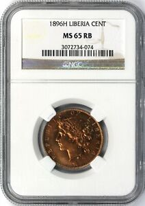 1896-H Liberia Cent NGC MS65RB