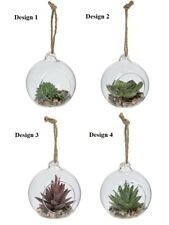 Ganz E9 Hanging Glass Ball Vase Air Plant Terrarium W/ Artificial Mini Succulent