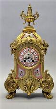 Antique French Mantel clock pink sevres porcelain plaques putti bird floral