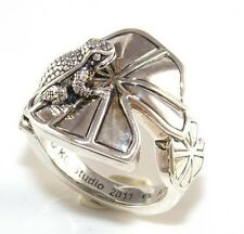 BARRY KIESELSTEIN CORD STERLING SILVER TOAD FROG LILY PAD  RING SZ 9 NEW