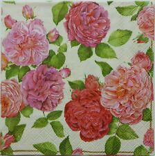 ROSE GARDEN FOUR(4) single COCKTAIL SIZE  paper napkins for decoupage 3-ply