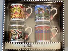 Me Ink Mary Engelbreit Mugs Christmas Ornaments 4 Cups Nib Sealed
