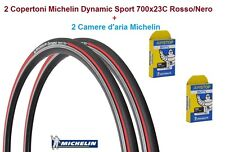 2 Copertoni + 2 Cam. Michelin Dynamic Sport 700x23C Rosso x Bici 28 Single Speed