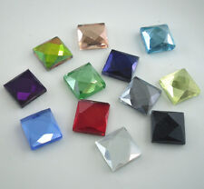 square 10mm Multiple faceted glass Crystal Flat Back Rhinestones use glue 50pcs