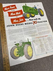 Vintage John Deere Model 70 Poster Brochure 1953