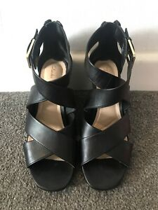 Clarks Cushion Plus Black Wedge Heeled Ladies Sandals UK 4.5 D / EUR 37.5
