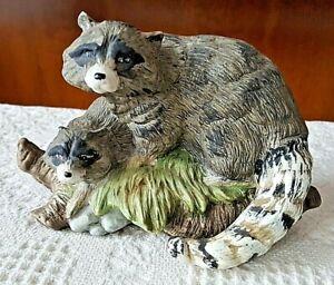 "Porcelain Ceramic Hand Painted Raccoons Figurine Nature Scene Brown  7-1/2"""