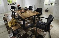 Esstisch Queens Tisch Esszimmer Akazie Massiv Natur Geölt Metall Grau  180x90 Cm