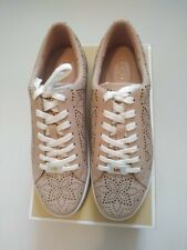 Michael Kors Catelyn Lace Up Lasered Leather Trainers in Pink UK 3
