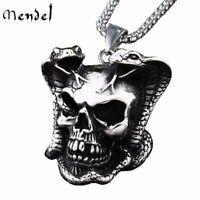 MENDEL Mens Stainless Steel Biker Snake Devil Punk Skull Pendant Necklace Men