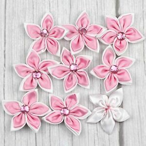 50Pcs Satin Ribbons Flowers crystal Crafts Wedding DIY Appliques 23 Colors