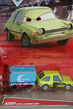 """DISNEY PIXAR CARS 2 """"ACER WITH LUGGAGE CART """" NEW IN PACKAGE, DELUXE MODEL"""