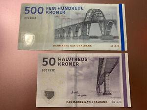 500 + 50 Denmark Kroner Banknote. Danish 550 Kroner Total. 2 Cir Notes. Bills h