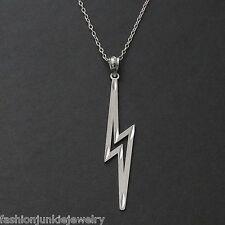 Lightning Bolt Necklace - 925 Sterling Silver - Lightning Bolt Pendant Charm NEW