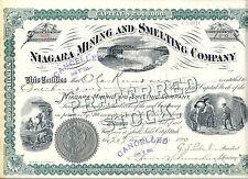 UTAH 1890, Niagara Mining & Smelting Company Stock Certificate