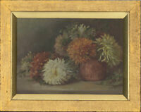 A.A.B. - Framed 1896 Oil, Chrysanthemums in a Vase