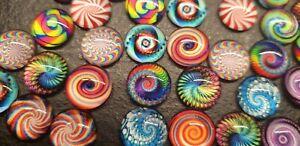 Glasnuggets Motive Lollipop Bunt Spirale 12 mm Muggelsteine 50 Stück Glassteine