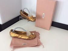 Miu Miu Zapatos Planos Bailarina De Bronce De Oro Talla 35 Reino Unido 2.5 bolsas de polvo en caja en muy buena condición