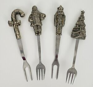 Wallace Silverplate Christmas Serving Fork Set of 4 Santa Relish Cheese Pickle